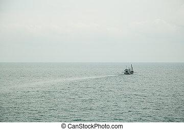 bateau, seascape., calme, surface, mer