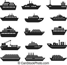 bateau, set., bateau, icône