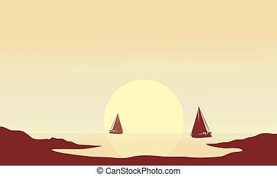 bateau, silhouette, après-midi