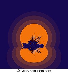 bateau, silhouette, peche, reflet
