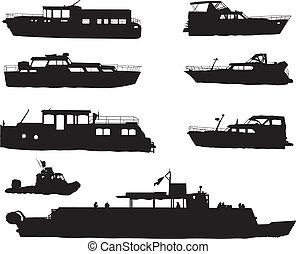 bateau, silhouettes