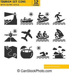 bateau, ski, eps, plongée, noix coco, banane, phare, natation, ensemble, vitesse, windsurf, jet, autre, plat, chapeau, vecteur, fichier, vacances, surfer, voyage, glace, coucher soleil, icons., noir, avion, plage