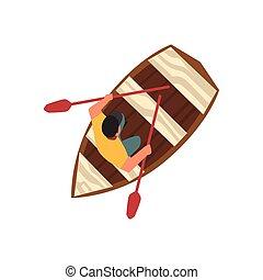 bateau, sommet bois, casquette, illustration, vecteur, séance, homme, vue