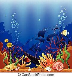 bateau, sous-marin, fond, sunken