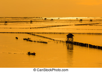 bateau, sur, lac, à, coucher soleil