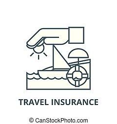 bateau, symbole, soleil, voyage, contour, linéaire, concept, vecteur, lifebuoy, signe, assurance, ligne, icône, sable