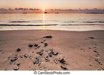bateau, thailand., levers de soleil, croisière