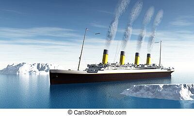 bateau, -, titanic, render, 3d