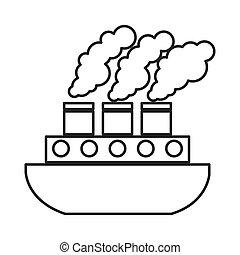 bateau, véhicule, isolé, bateau, icône