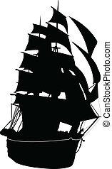 bateau, vecteur, -