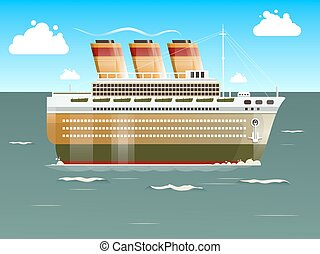 bateau, vecteur, illustration, croisière