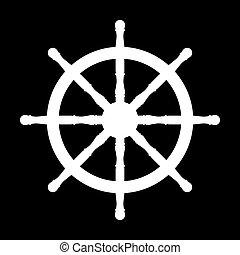 bateau, vecteur, illustration, wheel.