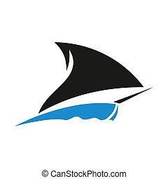 bateau, vecteur, signe
