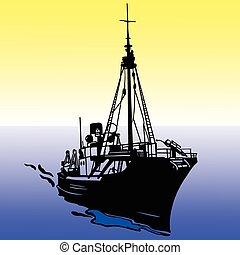 bateau, vecteur, silhouette, illustration