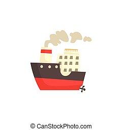 bateau, vecteur, vapeur, illustration