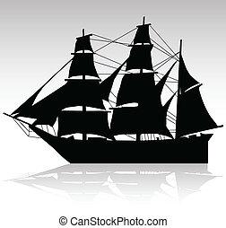 bateau, vecteur, vieux, silhouettes, voile