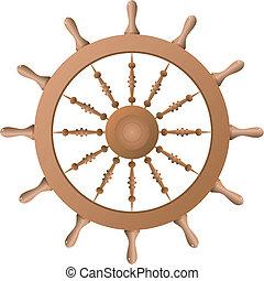 bateau, vecteur, wheel.