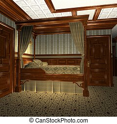 bateau, vieux, luxe, stateroom