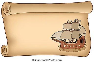 bateau, vieux, parchemin