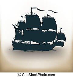 bateau, vieux, pictogramme