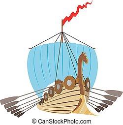 bateau, vikings, drakkar