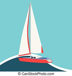 bateau voile, carte