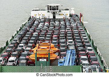 bateau, voitures, porte, lot, marché