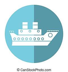 bateau, voyage, ombre, mer, croisière