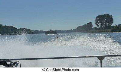 bateau, vue, croiser, arrière, pont