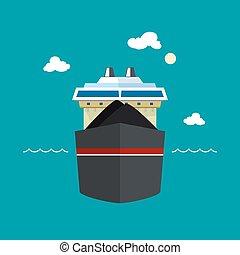bateau, vue, sec, cargaison, devant