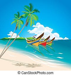bateaux, été, local, peche, mer