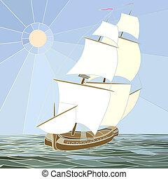 bateaux, 17ème, voile, century.