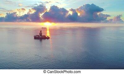 bateaux, aérien, levers de soleil, vue