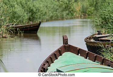 bateaux, beaucoup, non, entrer, canal, gens, bois