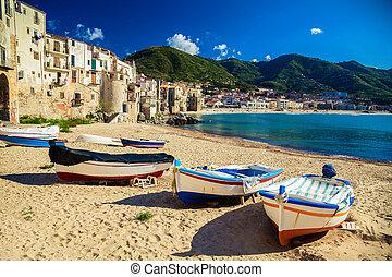 bateaux, cefalu, plage, vieux, peche