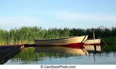 bateaux, coucher soleil, nature morte