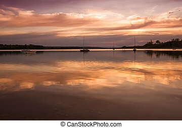 bateaux, coucher soleil