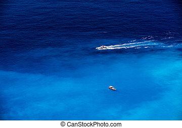 bateaux, dans, les, bleu, mer