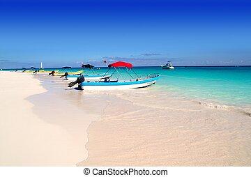 bateaux, dans, plage tropicale, antilles, été