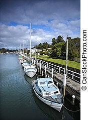 bateaux, dock.