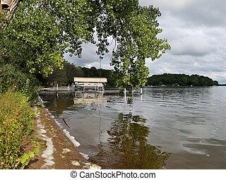 bateaux, docks, washington, lac