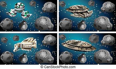 bateaux, ensemble, espace, différent