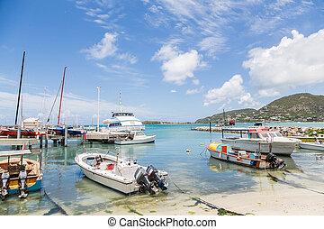 bateaux, exotique, port