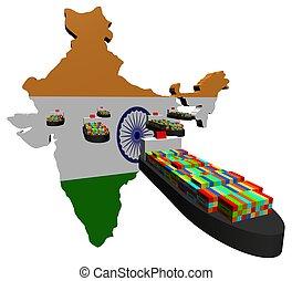 bateaux, exportation, indien, récipient, illustration