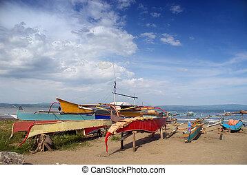 bateaux, fishermen\'s, plage, asiatique