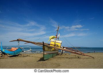 bateaux, fishermen's, plage, asiatique