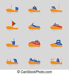 bateaux, icônes, ensemble