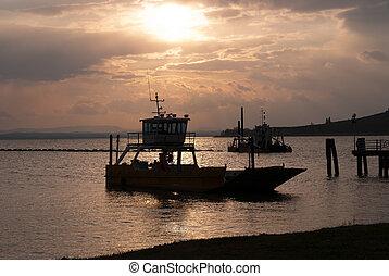 bateaux, lac, trasimeno