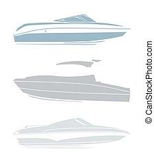 bateaux, logos, ensemble, yachts