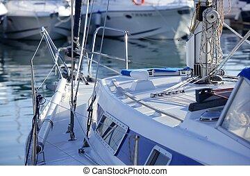 bateaux, marina, méditerranéen, détails